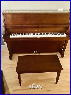 Yamaha Studio Upright Piano, 45, Walnut Satin Finish, Vertical Piano with Bench
