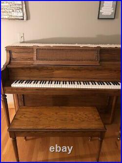 Yamaha upright solid oak piano and bench 88 keys